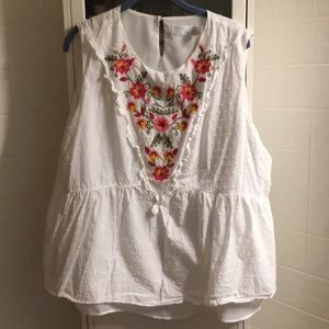 Cute peplum top with embroidery